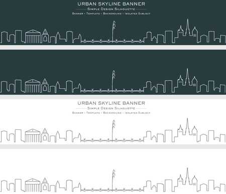 Geneva Single Line Skyline Banner Ilustración de vector