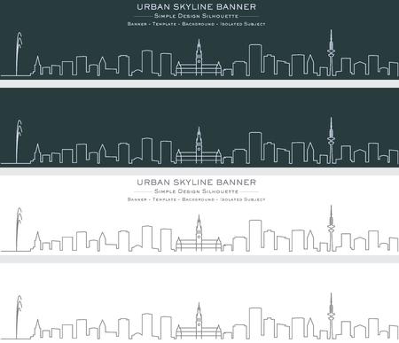 Hamburg Single Line Skyline Banner