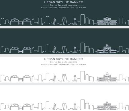 Madurai Single Line Skyline Banner Illustration