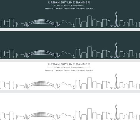 Sydney Single Line Skyline Banner Illustration