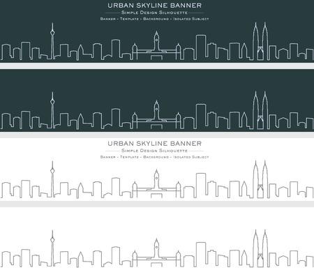 Kuala Lumpur Single Line Skyline Banner Illustration