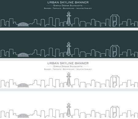 Osaka Single Line Skyline Banner Illusztráció