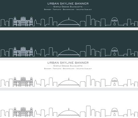 Karachi Single Line Skyline Banner Stockfoto - 122797467