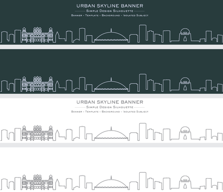 Karachi Single Line Skyline Banner