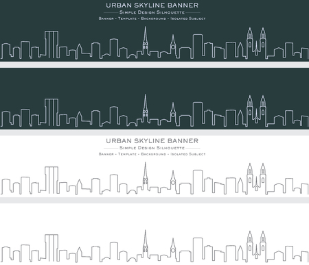 Zurich Single Line Skyline Banner Illustration