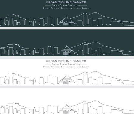 Naples Single Line Skyline Banner Illustration
