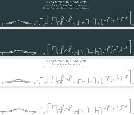 Panama Single Line Skyline Banner Illusztráció