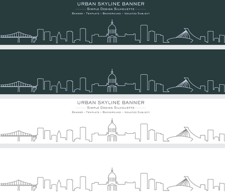 Montreal Single Line Skyline Banner Иллюстрация
