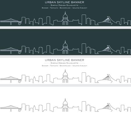 Montreal Single Line Skyline Banner Illustration