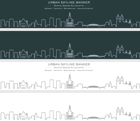 Poznan Single Line Skyline Banner Stock Illustratie