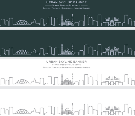 Nur-Sultan Single Line Skyline Banner Illustration