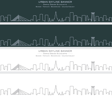 Bangkok Single Line Skyline Banner Standard-Bild - 122797505
