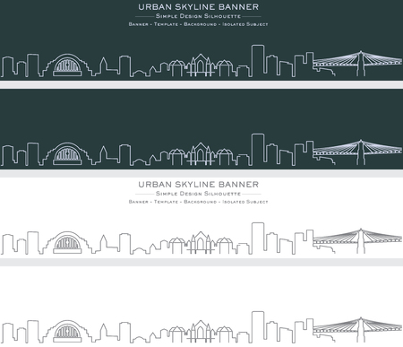 Cincinnati Single Line Skyline Banner Ilustrace