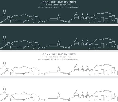 Salzburg Single Line Skyline Banner