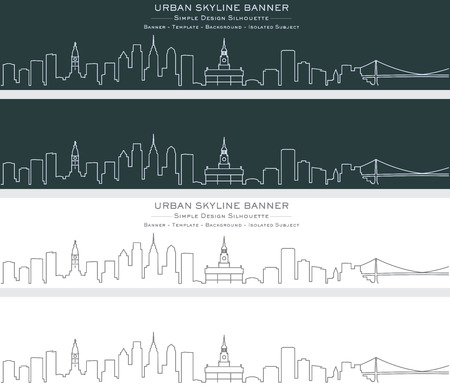Philadelphia Single Line Skyline Banner Ilustrace