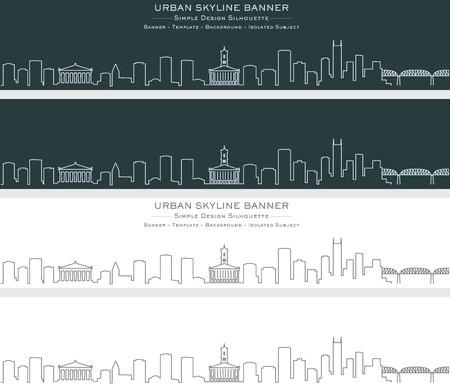Nashville Single Line Skyline Banner Illustration
