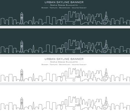 Doha Single Line Skyline Banner Illustration