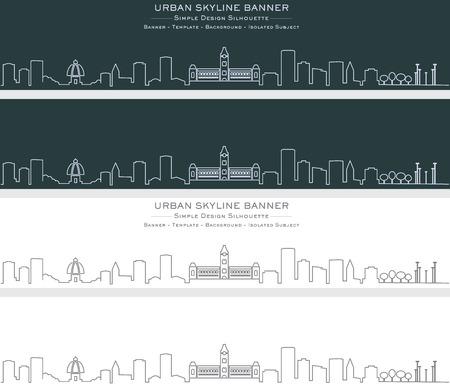 Chennai Single Line Skyline Banner Vector Illustration