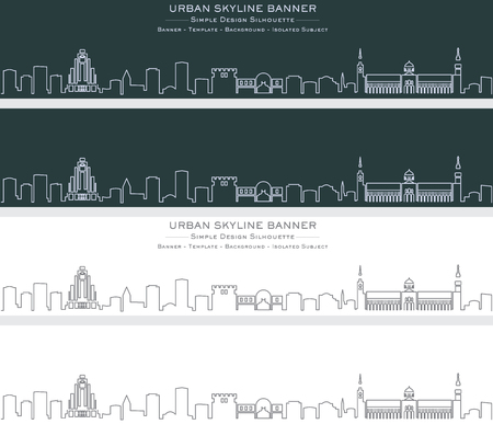 Damascus Single Line Skyline Banner Ilustração