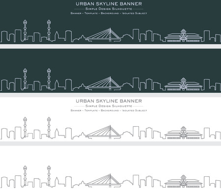 Bandung Single Line Skyline Banner