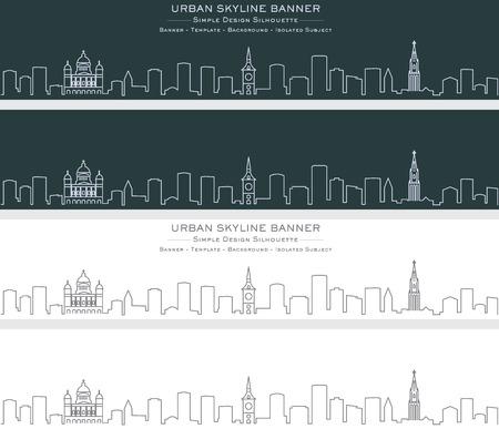 Bern Single Line Skyline Banner Illustration