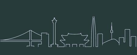 South Korea Simple Line Skyline and Landmark Silhouettes