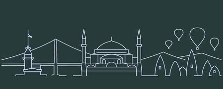 Turkey Simple Line Skyline and Landmark Silhouettes Illustration