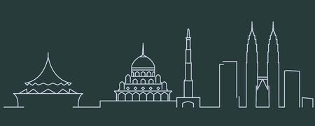 Malaysia Simple Line Skyline and Landmark Silhouettes Illustration