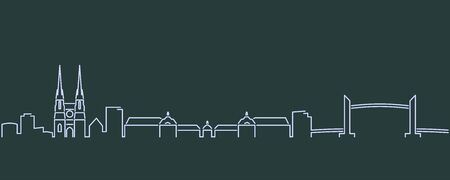 Bordeaux Single Line Skyline Profile Vecteurs