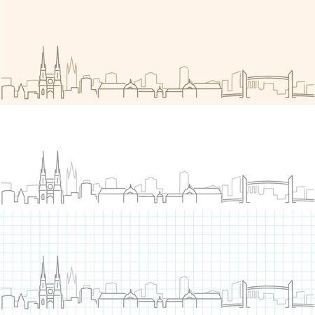 Bordeaux Hand Drawn Profile Skyline