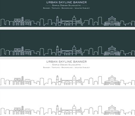 Palermo Single Line Skyline Profile Banner