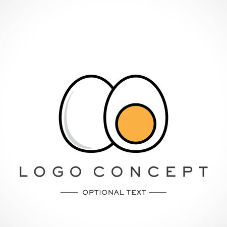 Whole and Half Egg Logo and Text for Designs