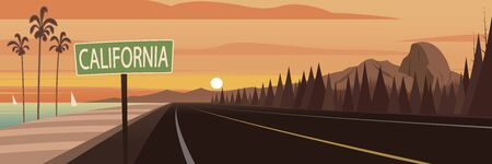Road Trip California Sign and Landmarks Ilustrace