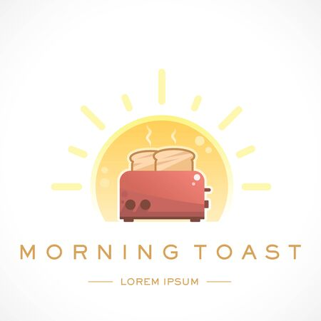 Morning Toast Design Logo Template and Text Ilustração