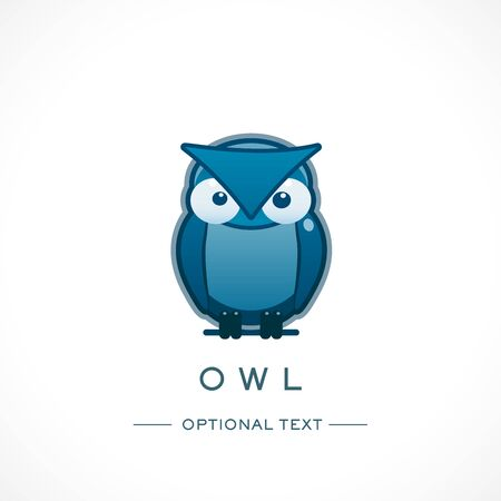 Owl Design Logo Template and Text
