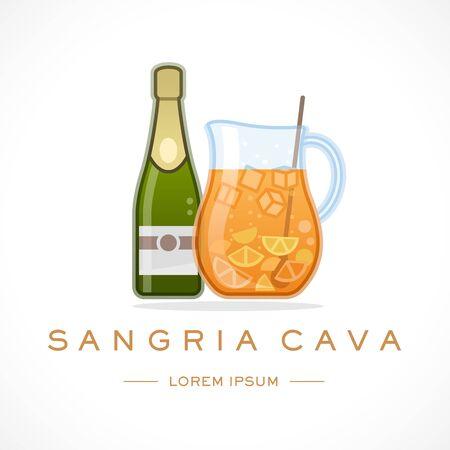 Spain Cava Sangria Design Logo Template and Text  イラスト・ベクター素材