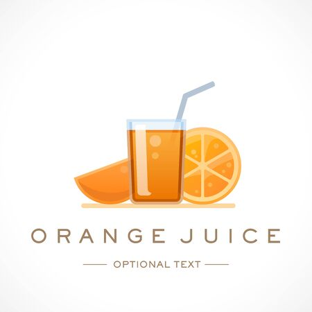 Orange Juice Design Logo Template and Text Ilustração