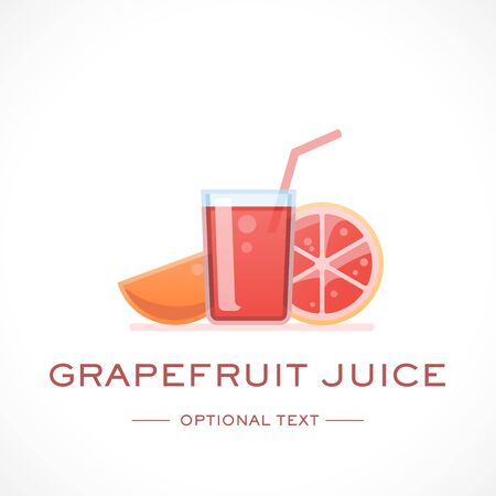 Grapefruit Juice Design Logo Template and Text