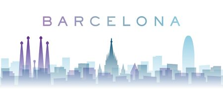 Barcelona Transparent Layers Gradient Landmarks Skyline Imagens