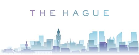 The Hague Transparent Layers Gradient Landmarks Skyline Stock Photo