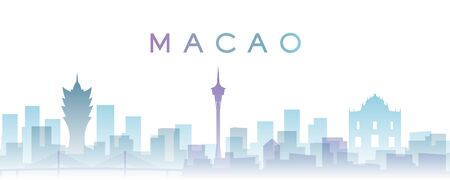 Macao Transparent Layers Gradient Landmarks Skyline