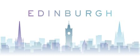 Edinburgh Transparent Layers Gradient Landmarks Skyline Stock Photo