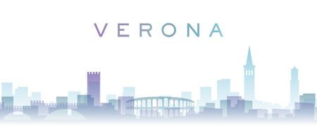 Verona Transparent Layers Gradient Landmarks Skyline Banque d'images