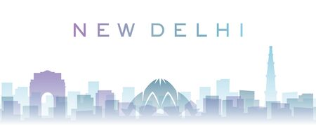 New Delhi Transparent Layers Gradient Landmarks Skyline