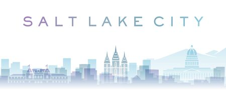 Salt Lake City Transparent Layers Gradient Landmarks Skyline Stockfoto