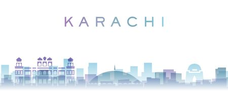 Karachi Transparent Layers Gradient Landmarks Skyline