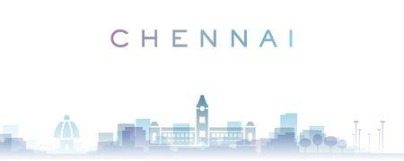 Chennai Transparent Layers Gradient Landmarks Skyline Reklamní fotografie