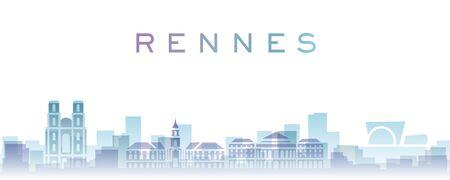 Rennes Transparent Layers Gradient Landmarks Skyline 写真素材