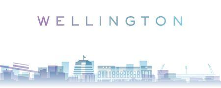 Wellington Transparent Layers Gradient Landmarks Skyline 写真素材