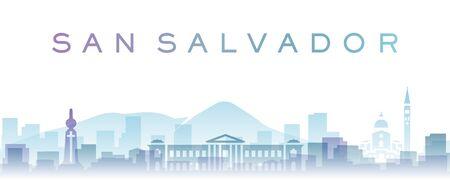 San Salvador Transparent Layers Gradient Landmarks Skyline 写真素材